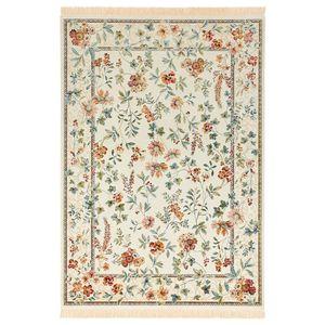 Orientalischer Samt-Teppich mit Fransen Oriental Flowers Creme, Größe:95x140 cm