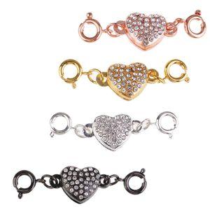 4 Sätze Magnetische Schmuck Verschlüsse Strass Herzform Magnetverschlüsse Kettenverschluss für Schmuck Halskette Armband