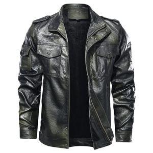 Herrenmode Jacke Pure Color Reißverschluss Stehkragen Imitation Leder Mantel Tops Größe:5XL,Farbe:Türkis