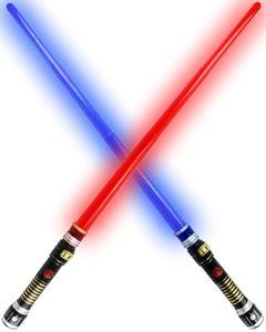 GYD Doppelpack Led Licht & Sound Schwert Star Fantasy LASER WARS LED LICHT SOUND 95cm Lichtschwert 1x blau + 1x rot