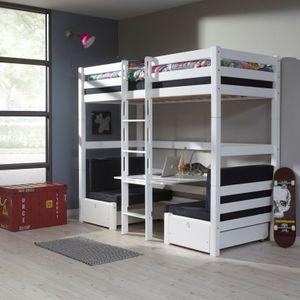 Etagenbett FINLEY Kinderbett Spielbett Bett Weiß/Schwarz