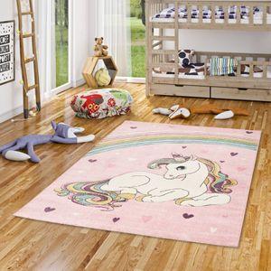 Kinder Teppich Maui Kids Einhorn Pastell Rosa Bunt, Größe:120x170 cm