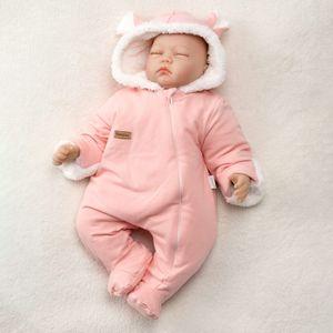 Baby Mädchen Winter Overall mit Kapuze gefüttert rosa 62 (0-3 Monate)