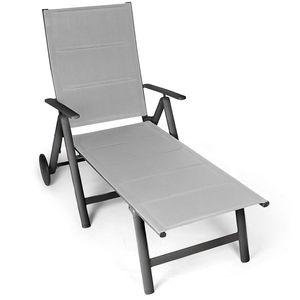 Vanage Sonnenliege schwarz Gartenliege Klappbar Relaxliege Aluminium Rollliege