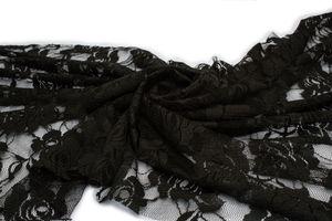 Stretch-Spitze Stoff Schwarz 50 x 150 cm