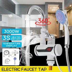 Elektrisch Wasserhahn Sofort Heizung Durchlauferhitzer 3000W LED + Duschkopf DE