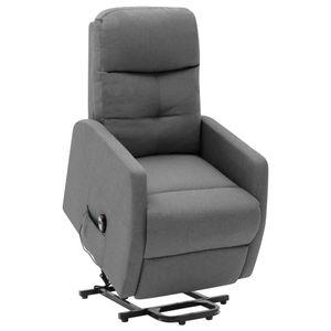 Sessel mit Aufstehhilfe Hellgrau Stoff