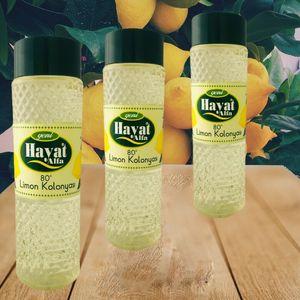 3 x Hayat Alfa Limon Kolonya, Zitronen Duftwasser, Türkisches Duftwasser 400 ml