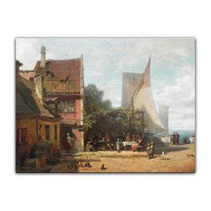 Leinwandbild - Carl Spitzweg - Alte Schänke am Starnberger See, Größe:60 x 50 cm