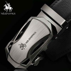 Männer automatische Schnalle echtes Leder Gürtel Kuh Ledergürtel 3,5 cm Breite -(CA,125cm)