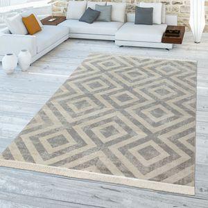 Outdoor Teppich Grau Balkon Terrasse Skandinavisches Rauten Design Robust Weich, Größe:240x340 cm