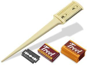 Effilierer Ausdünn Kamm Effiliermesser Haarpflege zum Ausdünnen und Schneiden von Haaren mit 10 Ersatzklingen