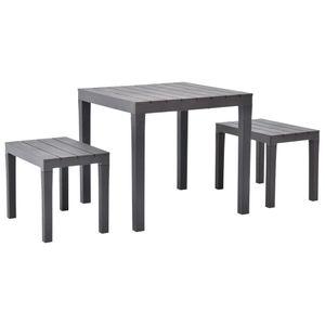 Gartentisch mit 2 Bänken Kunststoff Braun