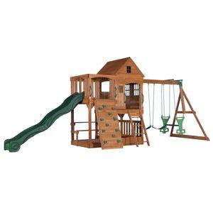 Backyard Discovery Spielturm Holz Hillcrest   XXL Spielhaus für Kinder mit Rutsche, Sandkasten, Schaukel, Kletterwand und Picknicktisch   Stelzenhaus für den Garten