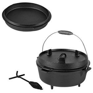 5,7 Liter Dutch Oven Feuerkessel Gusseisen Kessel Bräter Camping Grillpfanne BBQ