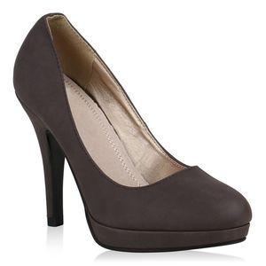 Mytrendshoe Klassische Damen Pumps Stilettos Business Plateau High Heels 72277, Farbe: Dunkelbraun, Größe: 38
