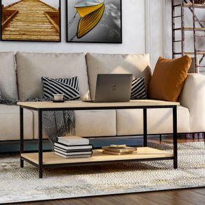 Merax Couchtisch Wohnzimmertisch Sofatisch 100 x 50 x 44 cm Kaffeetisch mit Ablage Metallgestell Holz Stabil Vintage, Eichefarbe