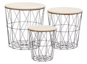 Tisch Set Korb 3er Set - 3 Tische mit 3 Deckeln - Tischplatte: hell (30598)