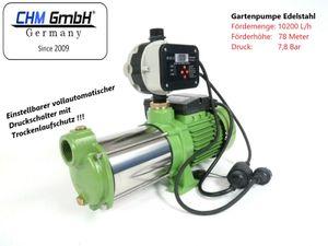 CHM GmbH Kreiselpumpe Edelstahl 2,1 Kw und 7,8 Bar Gartenpumpe mit einstellbaren Trockenlaufschutz