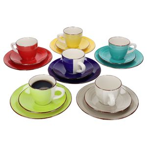 18tlg Kaffeeservice Malaga Kaffee Tee-Gedeck 6Pers Kaffeetassen Dessertteller abstrakt handbemalt