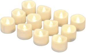 LED Kerze, LED Teelicht flammenlose Kerze mit Timer, Automatikmodus [12 Stück, warmweiß]