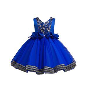 Weibliche Baby-Blumen-Tutu Formale Hochzeit Prinzessin Brautjungfer Prinzessin Kleid,Farbe:Pfauenblau,Größe:150(9-10T)
