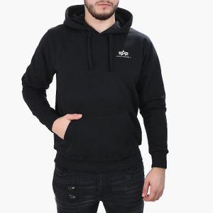 ALPHA INDUSTRIES Basic Hoody Small Logo Herren Sweatshirt Schwarz, Größenauswahl:L