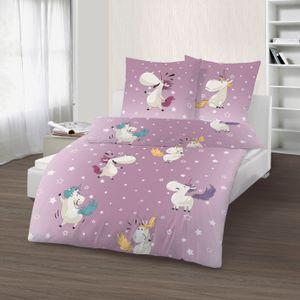 Einhorn Bettwäsche 135x200 cm Unicorn Sterne lila weiß Biber Baumwolle