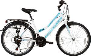 26 zoll Damen Fahrrad Mädchen Fahrrad  21 Gang Shimano RH 47 cm Weiss Türkis Neu -052