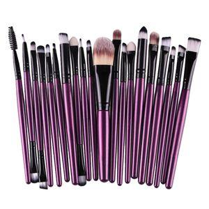 20 teile / satz Professionelle Make-Up Pinsel Foundation Puderpinsel Lila Schwarz Farbe Lila Schwarz