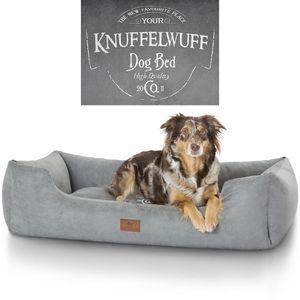 Knuffelwuff bedrucktes Hundebett Liam aus Velours XXL 120 x 85cm Grau
