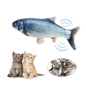Elektrische USB-Ladesimulation Fisch Katzenspielzeug Lustige interaktive Haustiere Katzen Katzenminze Spielzeug fuer Katze Kaetzchen Kaetzchen-Perfekt zum Beissen Kauen Treten (Mit Katzenminze und Karausche) 【Grass carp】