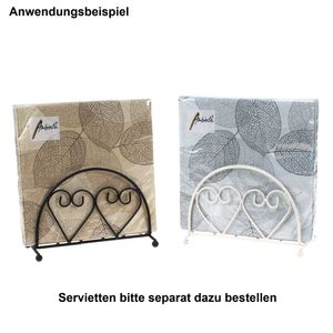 Serviettenhalter Metall Herz Serviette Spender Box weiß schwarz Serviettenständer, Farbe:schwarz