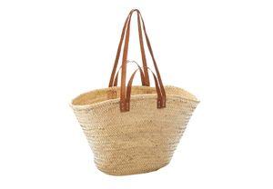 Palmtasche mit Ledergriffen und Lederhenkeln
