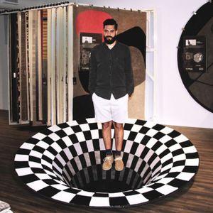 Miixia 3D Printed Round Vortex Illusion Anti-slip Living room Rug Carpet Floor Door Mat 80x80cm
