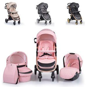 Cangaroo Kombikinderwagen Noble 3 in 1 Babyschale, Babywanne, Sportsitz klappbar pink