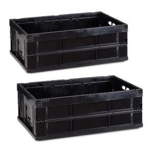 relaxdays 2x Transportbox im Set Aufbewahrungsboxen stapelbar Transportkiste Universalbox