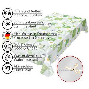 Tischdecke abwaschbar Wachstuch Karo Kamille Grün 140x100 cm