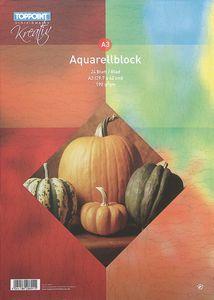 Aquarellblock 297x420mm DIN A3 24 Blatt 185g/m²