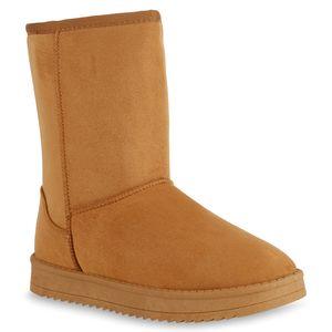 Mytrendshoe Damen Schlupfstiefel Warm Gefütterte Stiefel Winter Plateau Boots 825396, Farbe: Hellbraun, Größe: 38