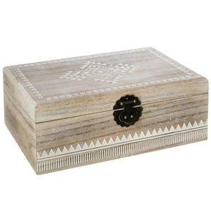 Schmuck-Aufbewahrungsbox, Holz und stilvoller Organizer für kostbare Kleinigkeiten, Safe Box