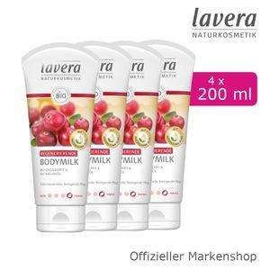 4x200ml lavera Regenerierende Bodymilk mit Bio-Cranberry & Bio-Arganöl