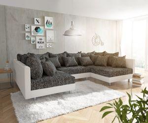 Couch Clovis Weiss Schwarz Wohnlandschaft Modulares Sofa