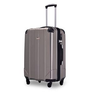 Hartschalen-Reisekoffer Wagenkoffer Trolley Spinner Case mit TSA-Schloss und Griffen,Grau, XL