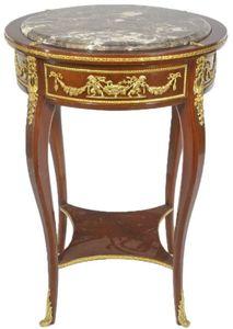 Casa Padrino Barock Beistelltisch mit Marmorplatte Braun / Gold Ø 45 x H. 75 cm - Runder Tisch im Barockstil - Barock Möbel