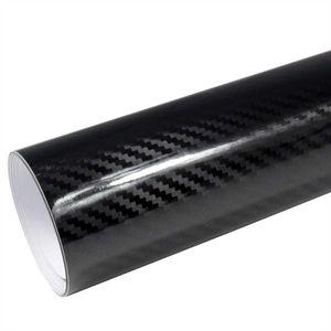 (9,86€/m²) Rapid Teck® 5D Carbon Folie Schwarz Hochglanz Autofolie 152 cm Breite Laufmeterware selbstklebende Folie mit Luftkanälen Auto Folie Carbonfolie glänzend
