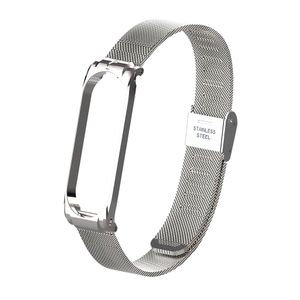 Silver Color Metallband armband fuer mi band 3 4 ersatzgeschaeft langlebig metall schraubenlos edelstahl armband band fuer xiaomi mi band 3 4