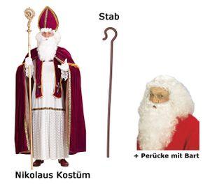 Nikolaus Kostüm Bischof Weihnachten Gr L/XL + Perücke - Bart + Stab