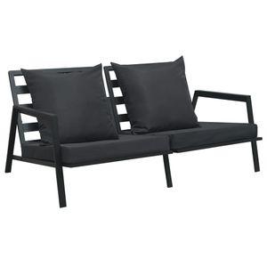 dereoir 2-Sitzer-Gartensofa mit Auflagen Dunkelgrau Aluminium
