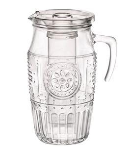 Bormioli Rocco 335942 Romantique Krug mit Eisbehälter und Plastikdeckel, 1.8 Liter, Glas, transparent, 1 Stück